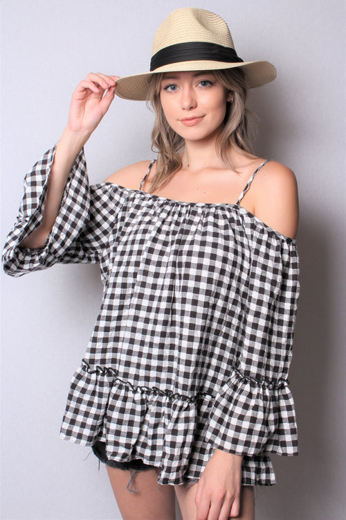 Women's Off Shoulder Plaid Top with Ruffled Hem