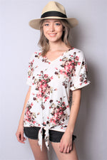 Women's Short Sleeve Printed Top with Front Knot