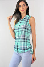 Sleeveless Button Down Plaid Top