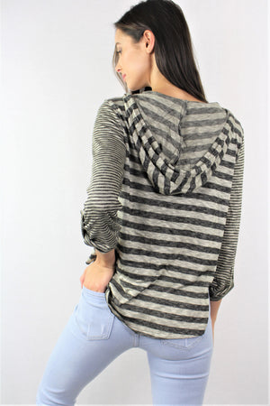 Relax fit Roll-up Sleeve Top with Hoodie