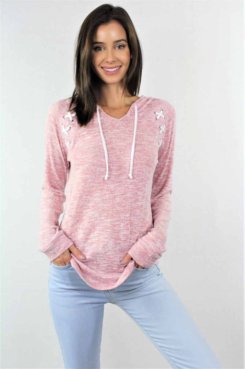 Long Sleeve Raglan Hoodie with Criss Cross Detail