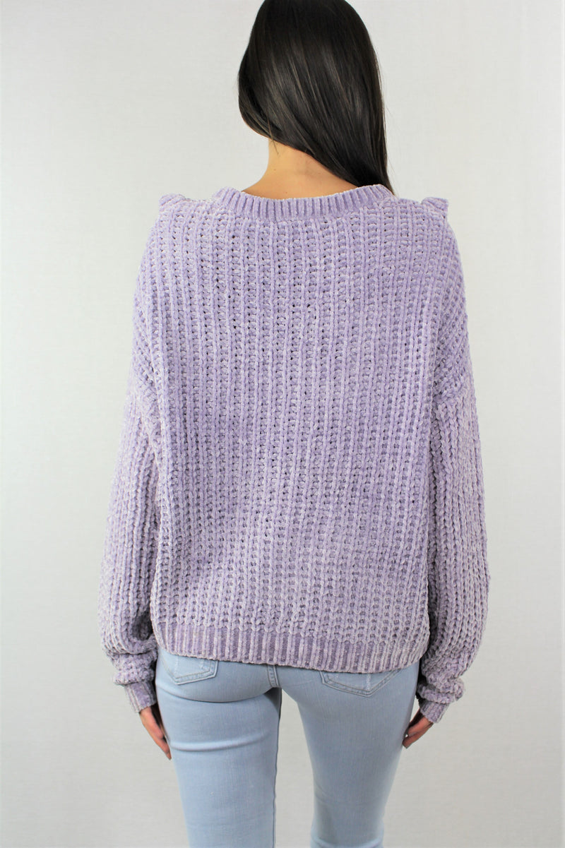 Knitted Sweater With Ruffled Front