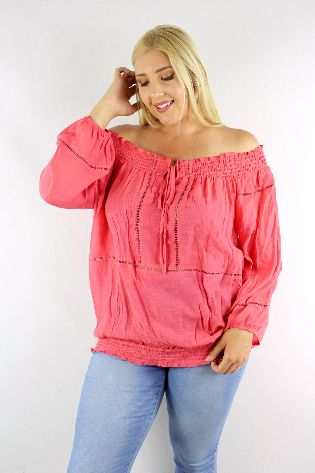 Women's Plus Size 3/4th Sleeve Cinched Hem with String Detail