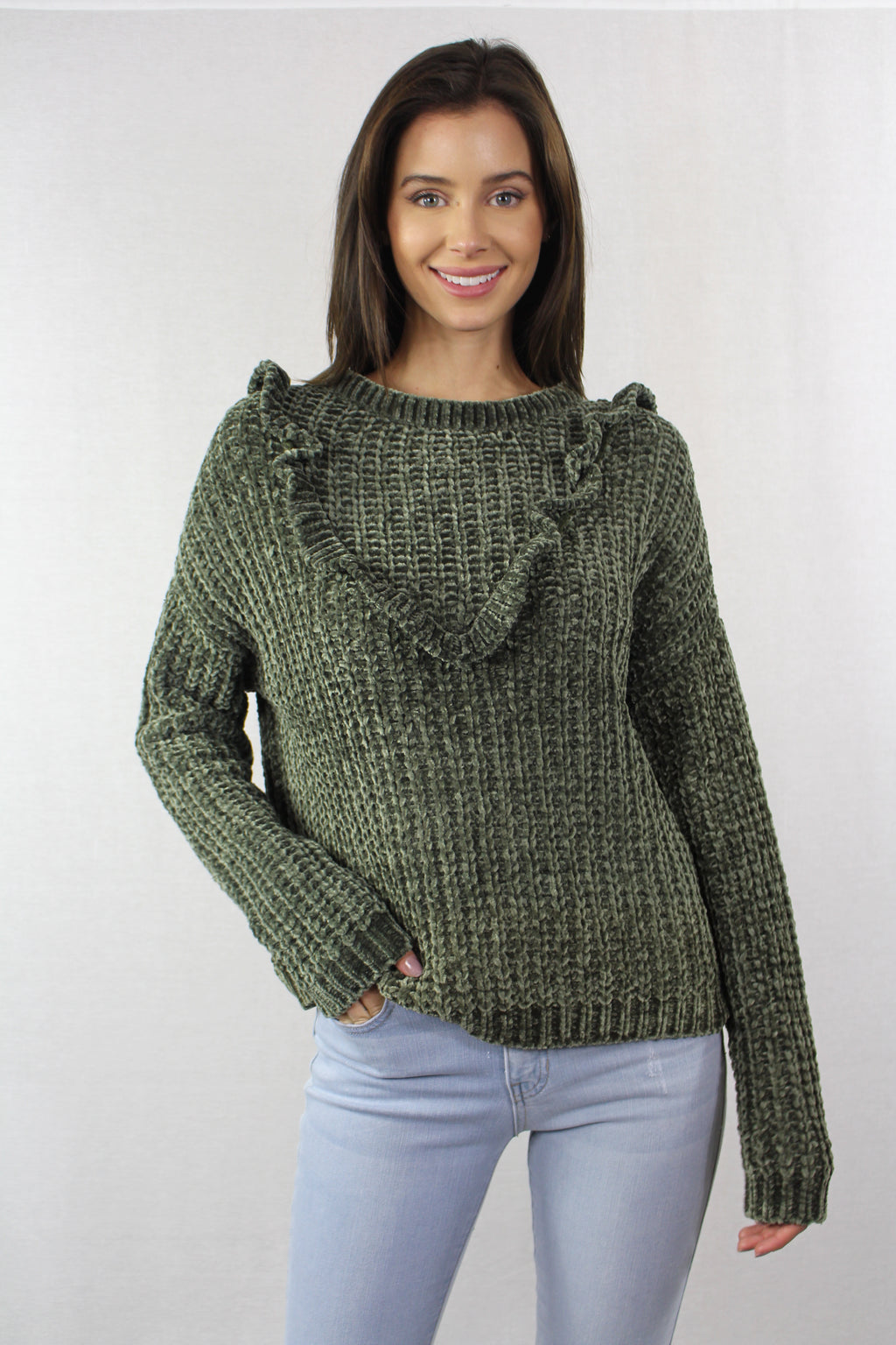 Women's Knitted Sweater With Ruffled Front