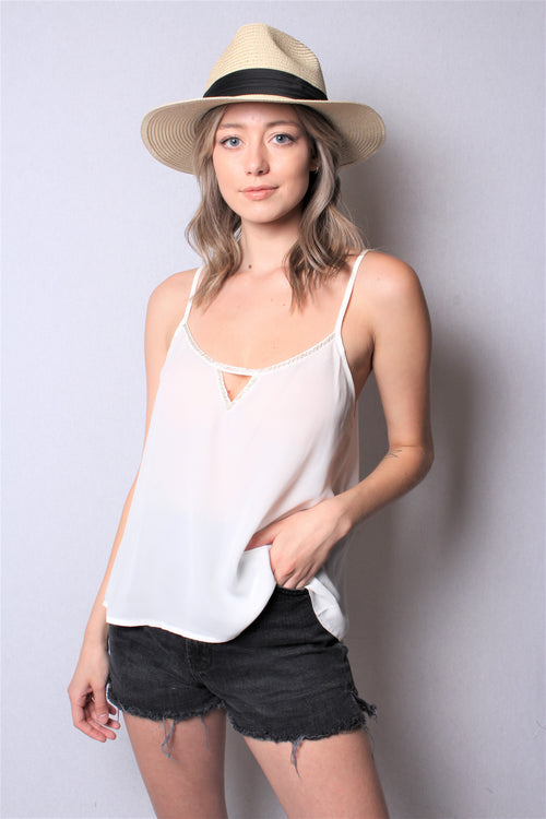 Women's Sleeveless Strappy Tank Top w/ Keyhole Detail
