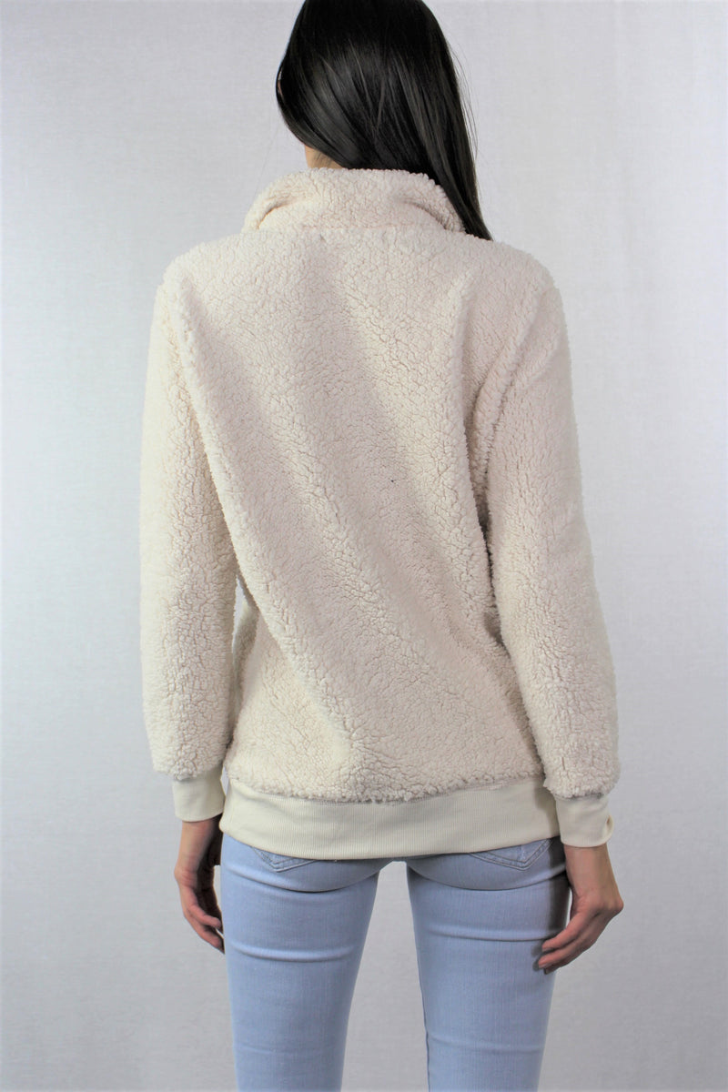 Half Zip Sherpa Mock-Neck Sweater