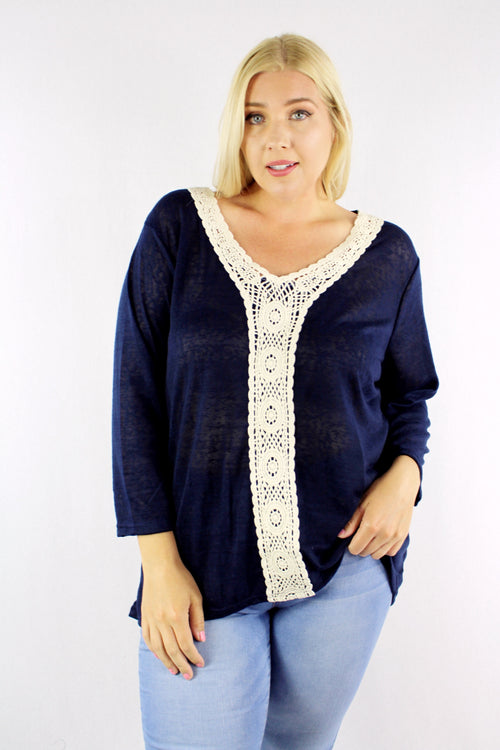Plus Size 3/4th Sleeve V Neck Top with Crochet Detail