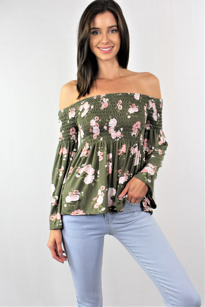 Long Sleeve Floral Off Shoulder Top