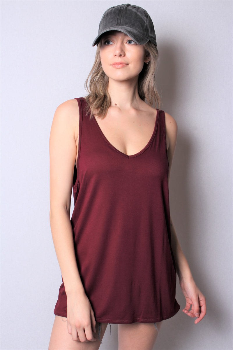 Women's Sleeveless Loose Fit V Neck Tank Top