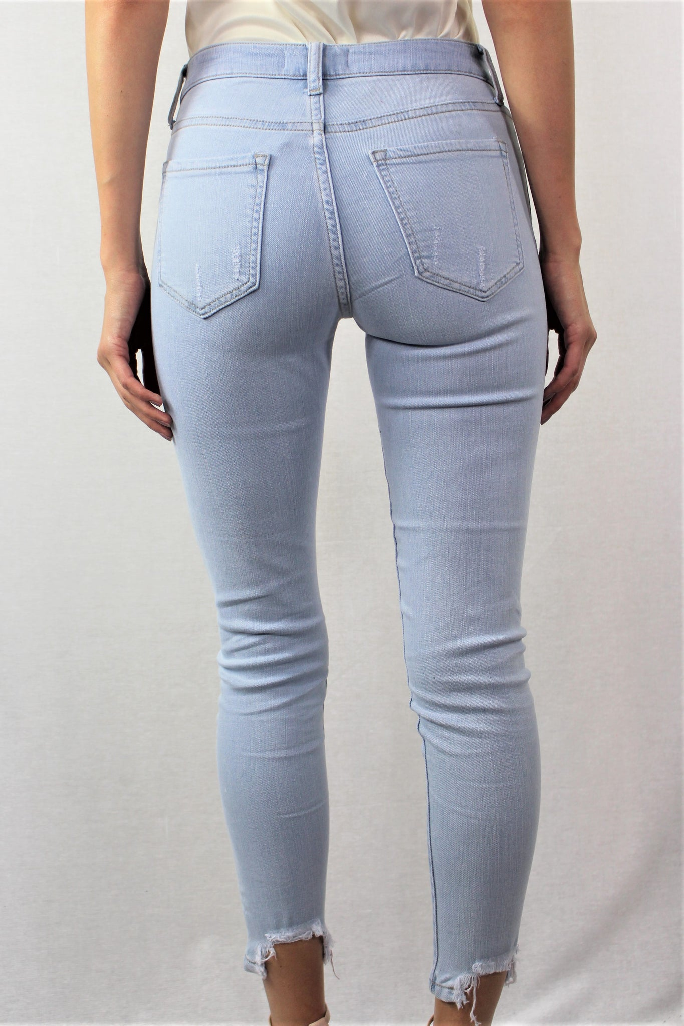 Light Skinny Jeans with Shredded Rips