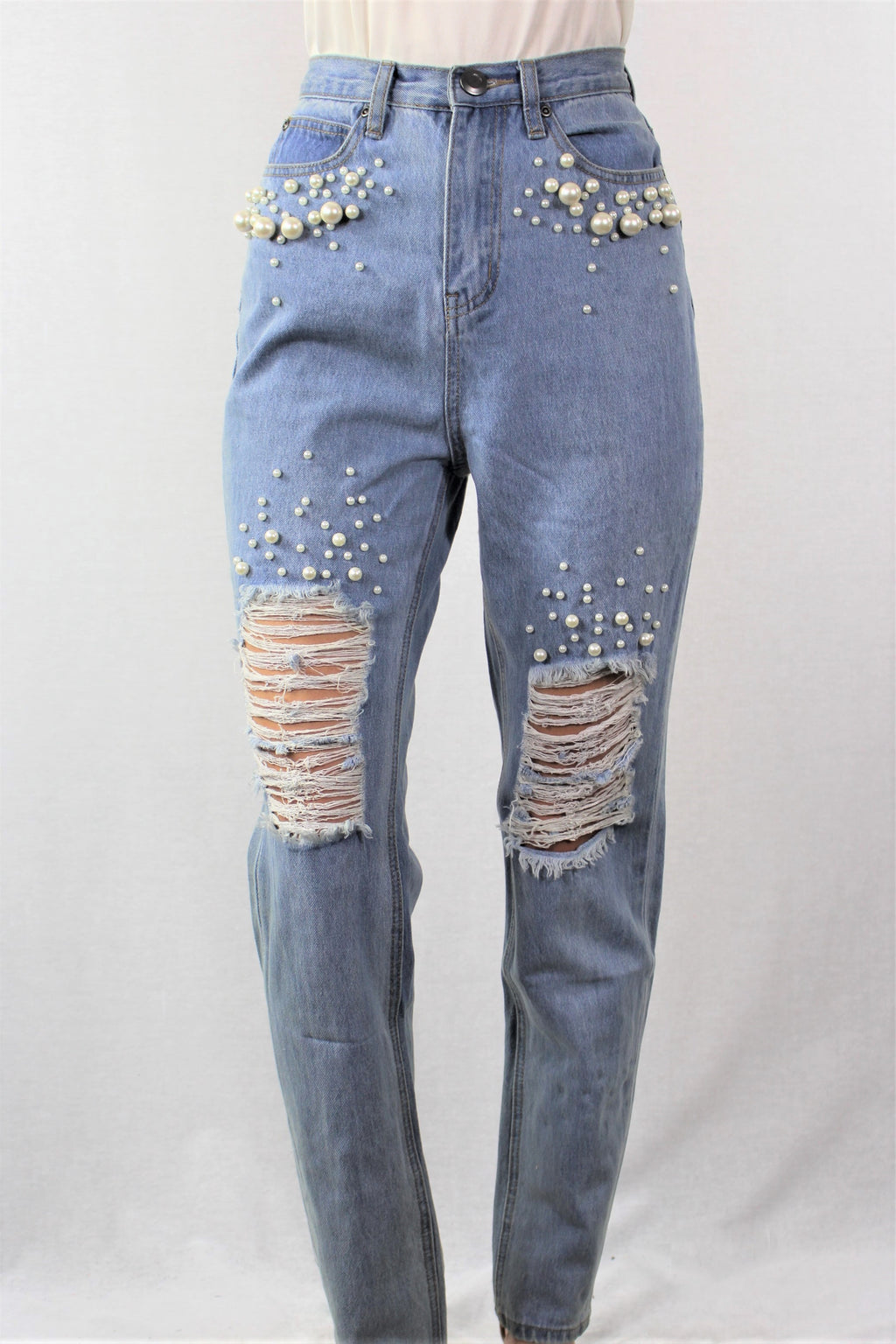 Women's High Waist Ripped Jeans0 with Pearl Detail
