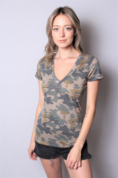 Women's Short Sleeve V Neck Body Fit Camo Top