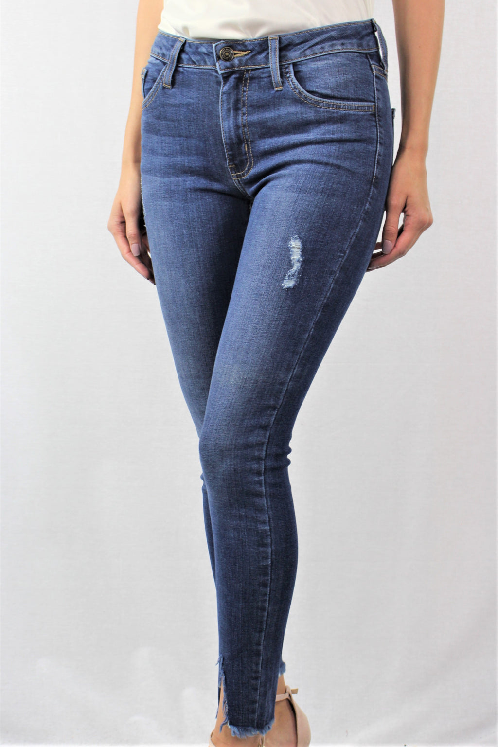 Blue Washed Denim with Shredded Rips