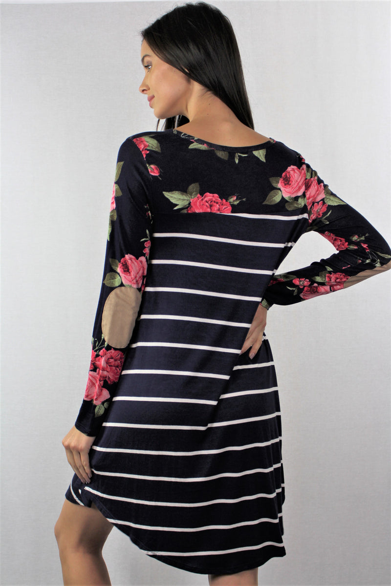 Long Sleeve Floral Stripes Dress