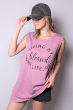 "Women's Sleeveless Tunic Tank Top with ""Blessed"" Print"