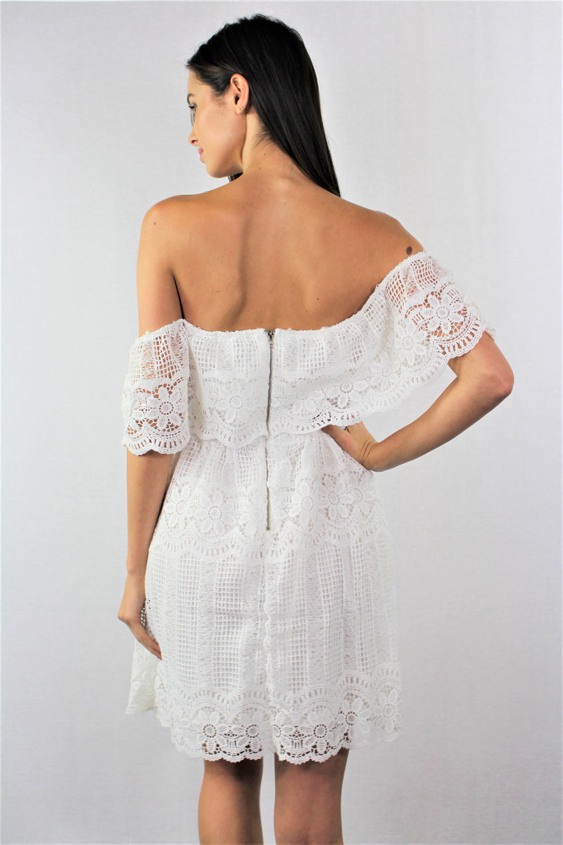 Off Shoulder Dress with Crochet Detail