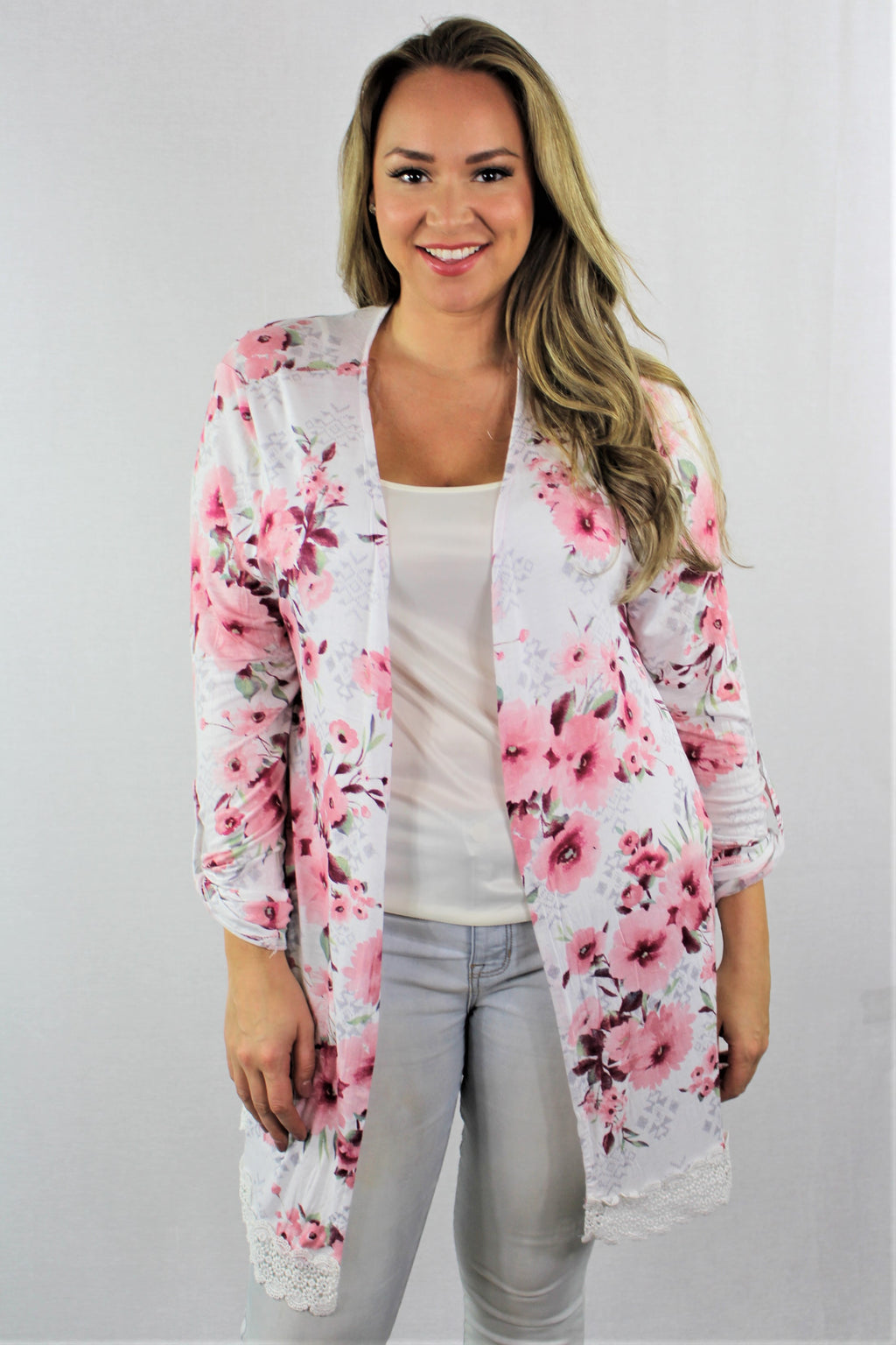 Plus Size Floral Cardigan with Lace Detail