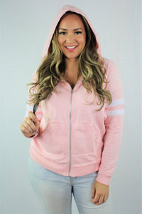 Plus Size Zip Up Hoodie with Front Pockets