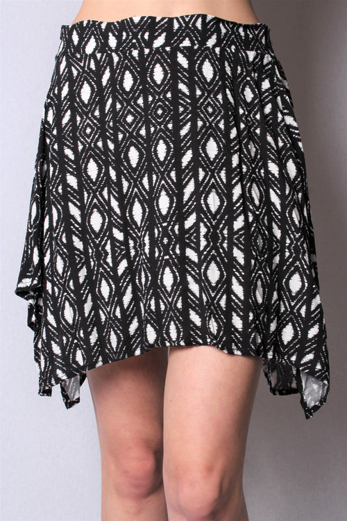 Women's Uneven Hem Printed Mini Skirt