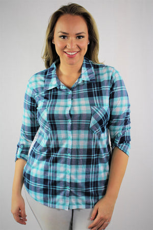 Plus Size 3/4th Sleeve Plaid Top with Lace and Front Pockets