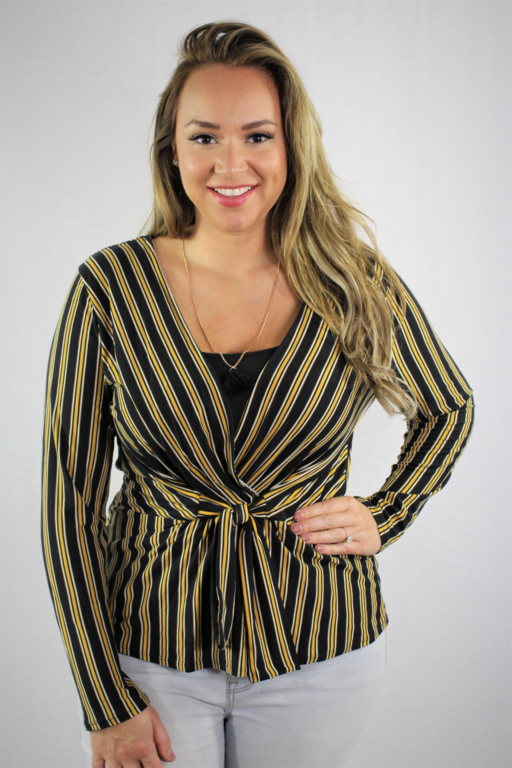 Plus Size Long Sleeve striped Top with v neckline