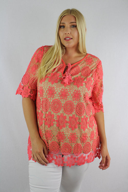 Plus Size 1/2 Sleeve Crochet Top with String Detail