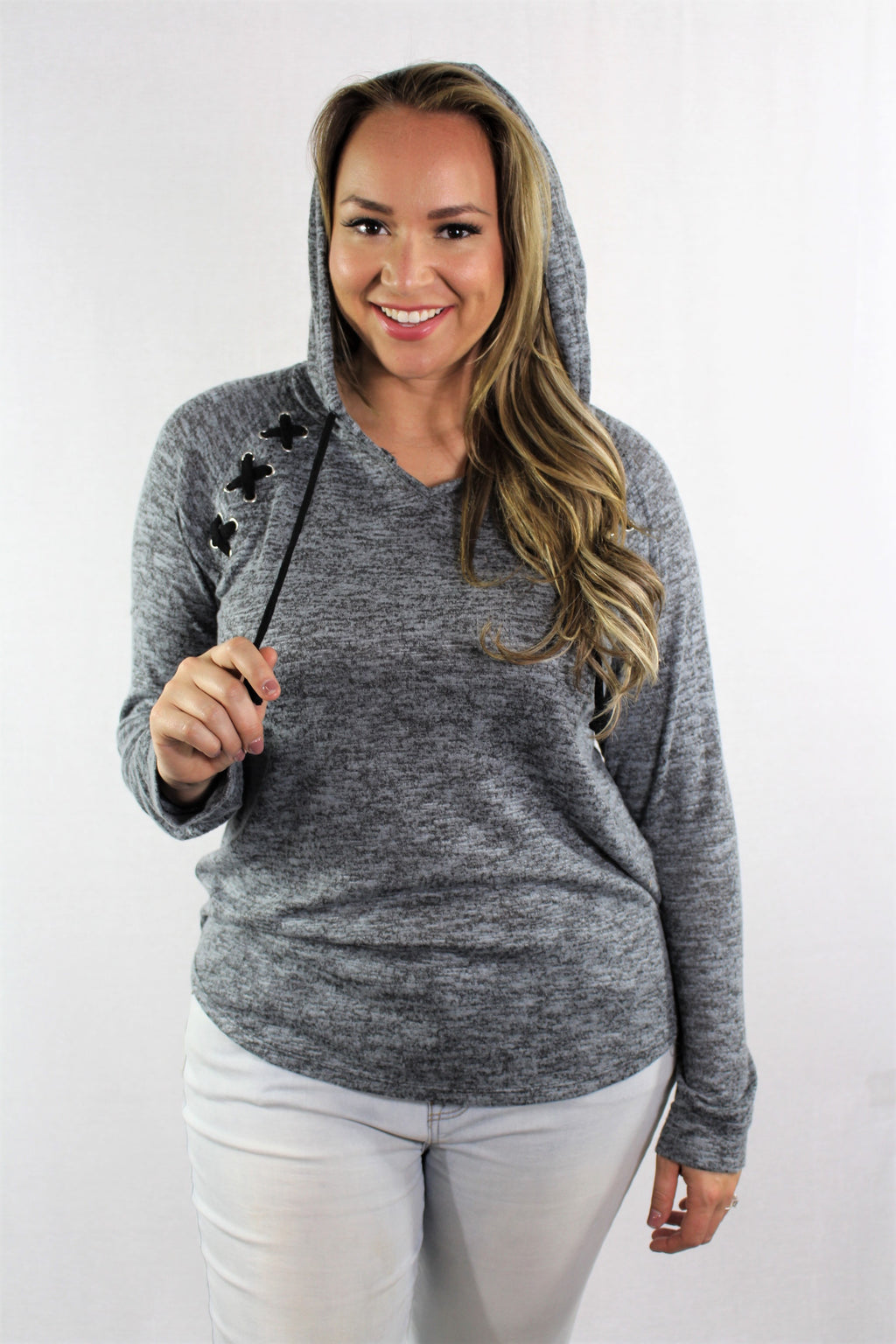 Plus Size Long Sleeve Raglan Hoodie with Criss Cross Detail