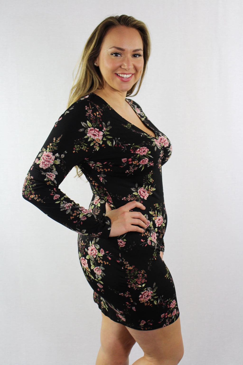Women's Plus Size Long Sleeve Floral Bodycon Dress