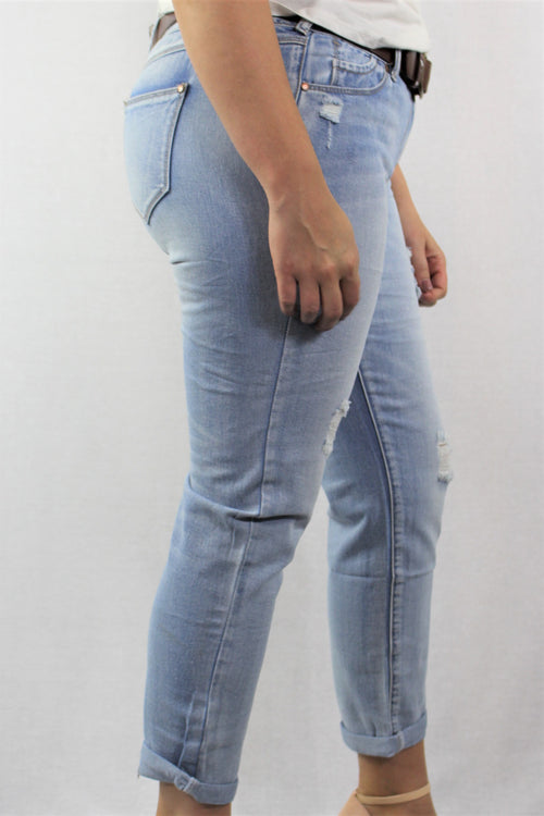 Blue Wash Ripped Jeans