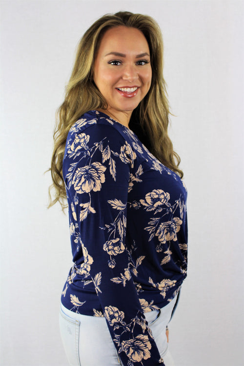 Women's Plus Size Long Sleeve Floral Top with Front Knot