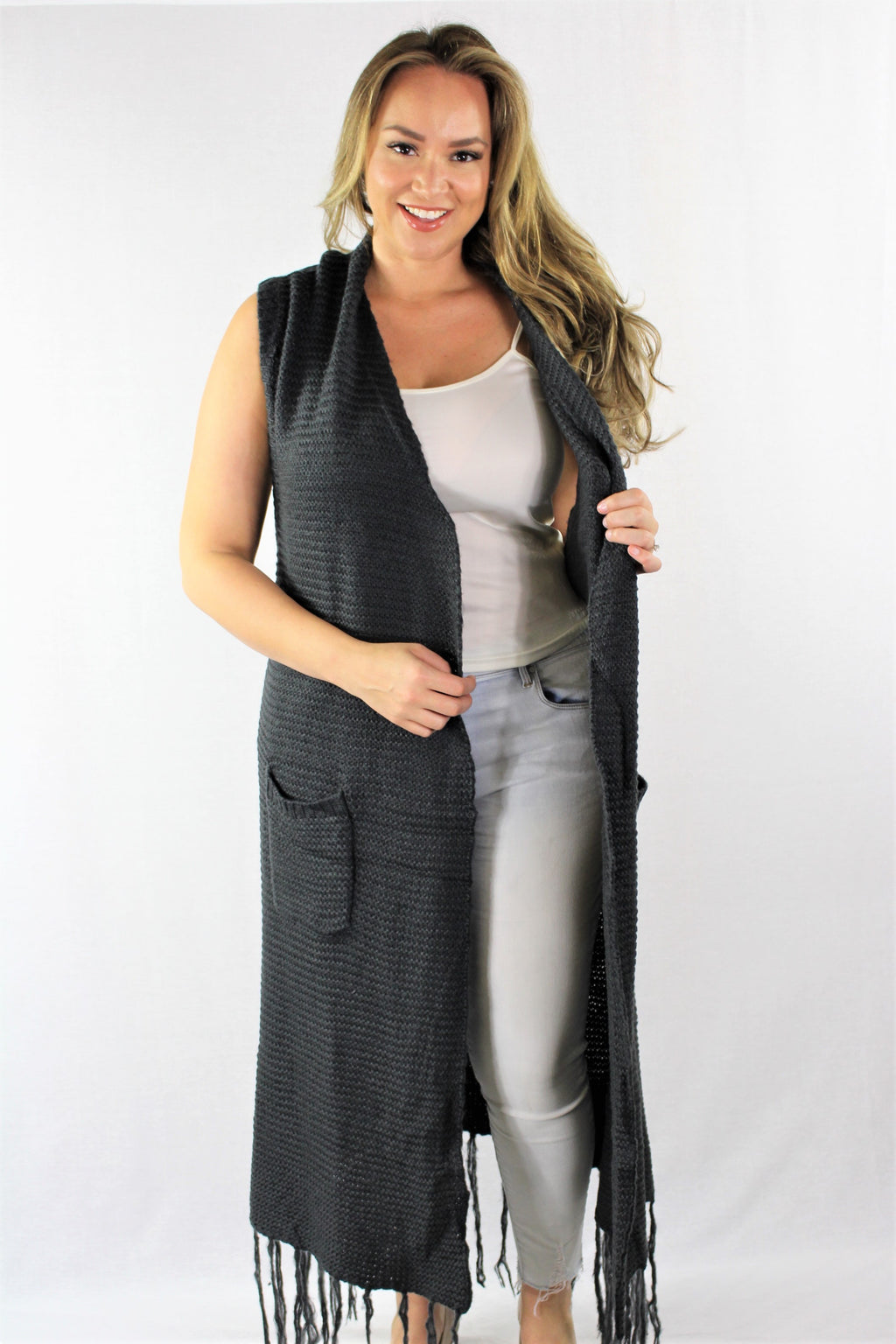 Plus Size Maxi Vest with Front Pockets