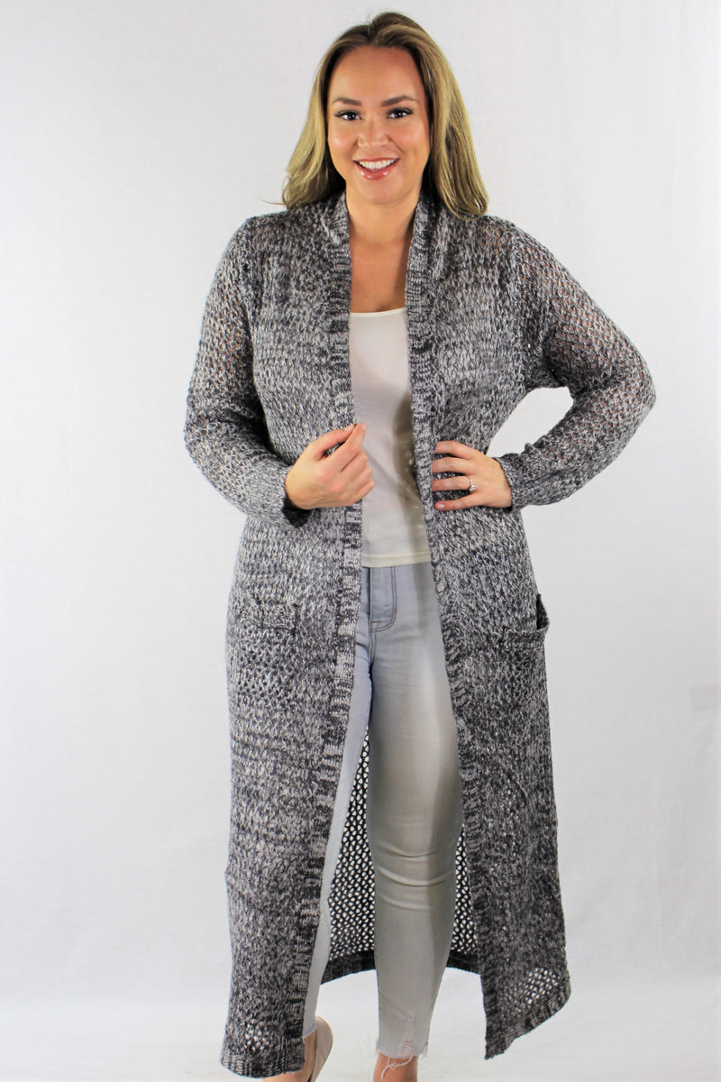 Plus Size Maxi Cardigan with Front Pockets