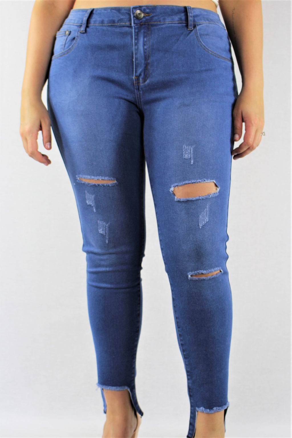 Plus Size Blue Washed Ripped Jeans with Uneven Hem
