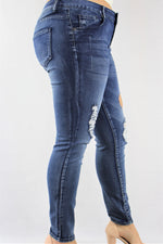 Women's Plus Size Medium Washed Ripped Jeans