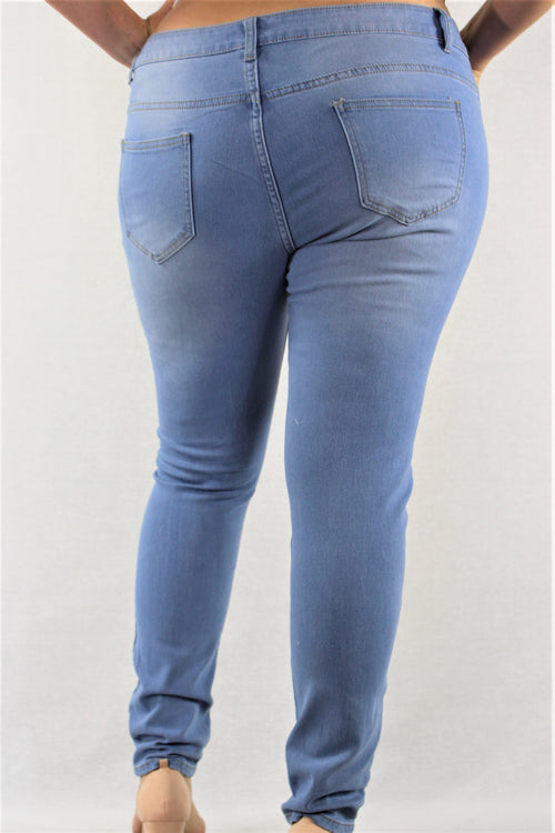 Plus Size Light Blue Ripped Jeans