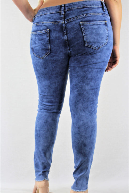 Plus Size Medium Washed Ripped Jeans