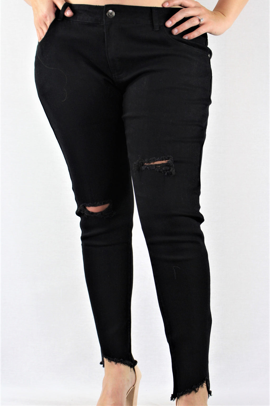 Women's Plus Size Black Ripped Jeans