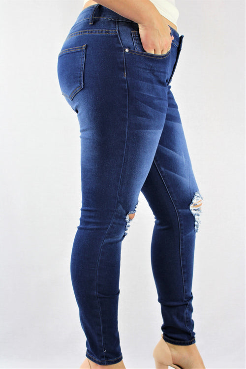 Plus Size Blue Washed Knee Ripped Jeans