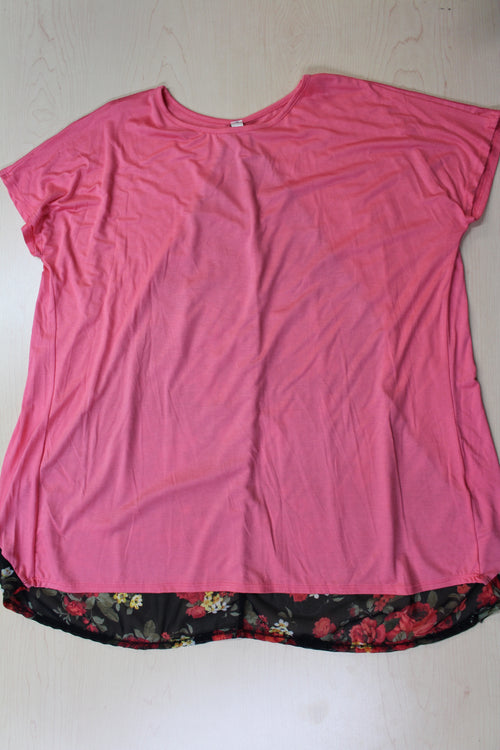 Women's Short Sleeve Top with Floral Detail