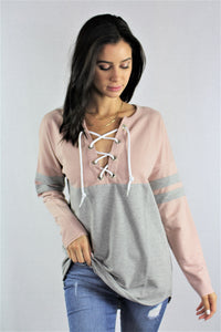 Long Sleeve Color Blocked Lace Detail Top