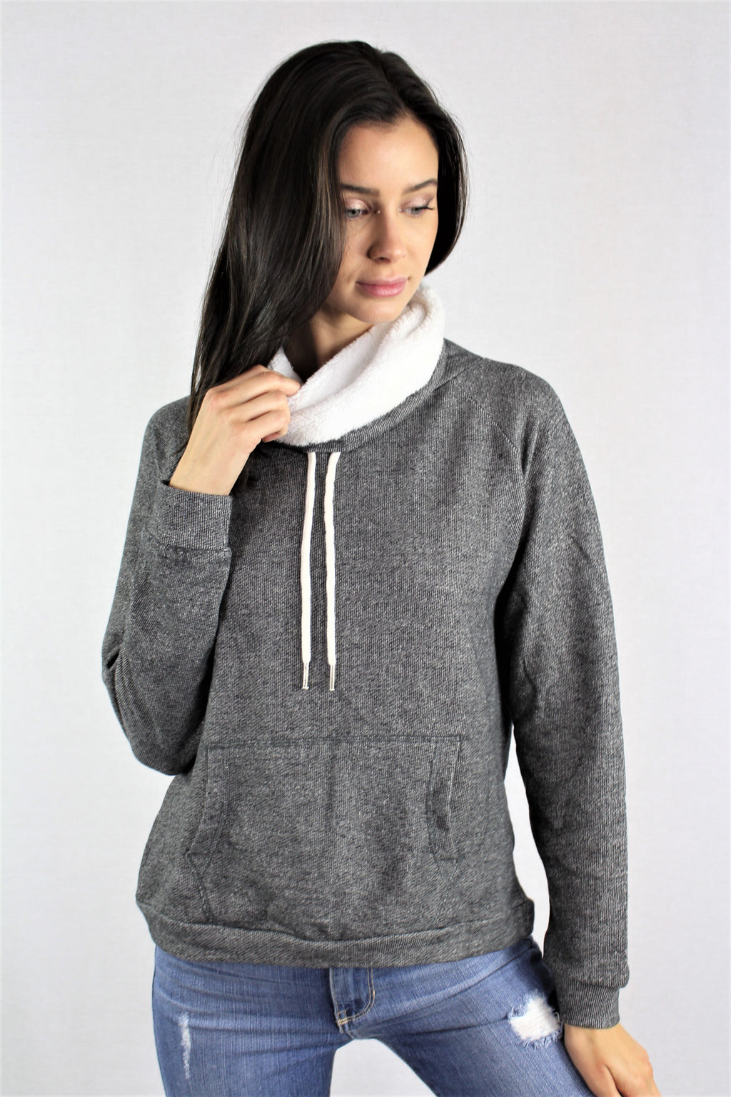 Cowl Neck Long Sleeves Sweater with Front Pocket