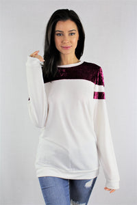 Long Sleeve with Velvet Detail Top