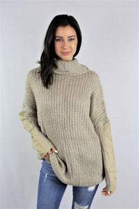 Knitted Long Sleeve Turtle Neck Top