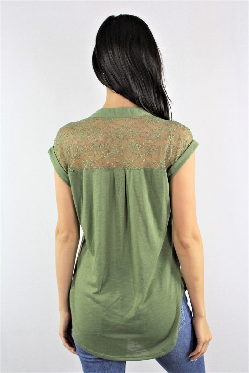 Sleeveless with Lace Detail and Front Buttons