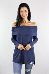 Long Sleeve Off Shoulder Tunic Top