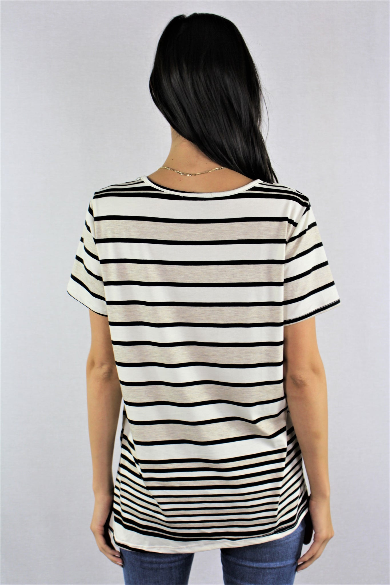 Short Sleeve Tri-Color Stripe Top