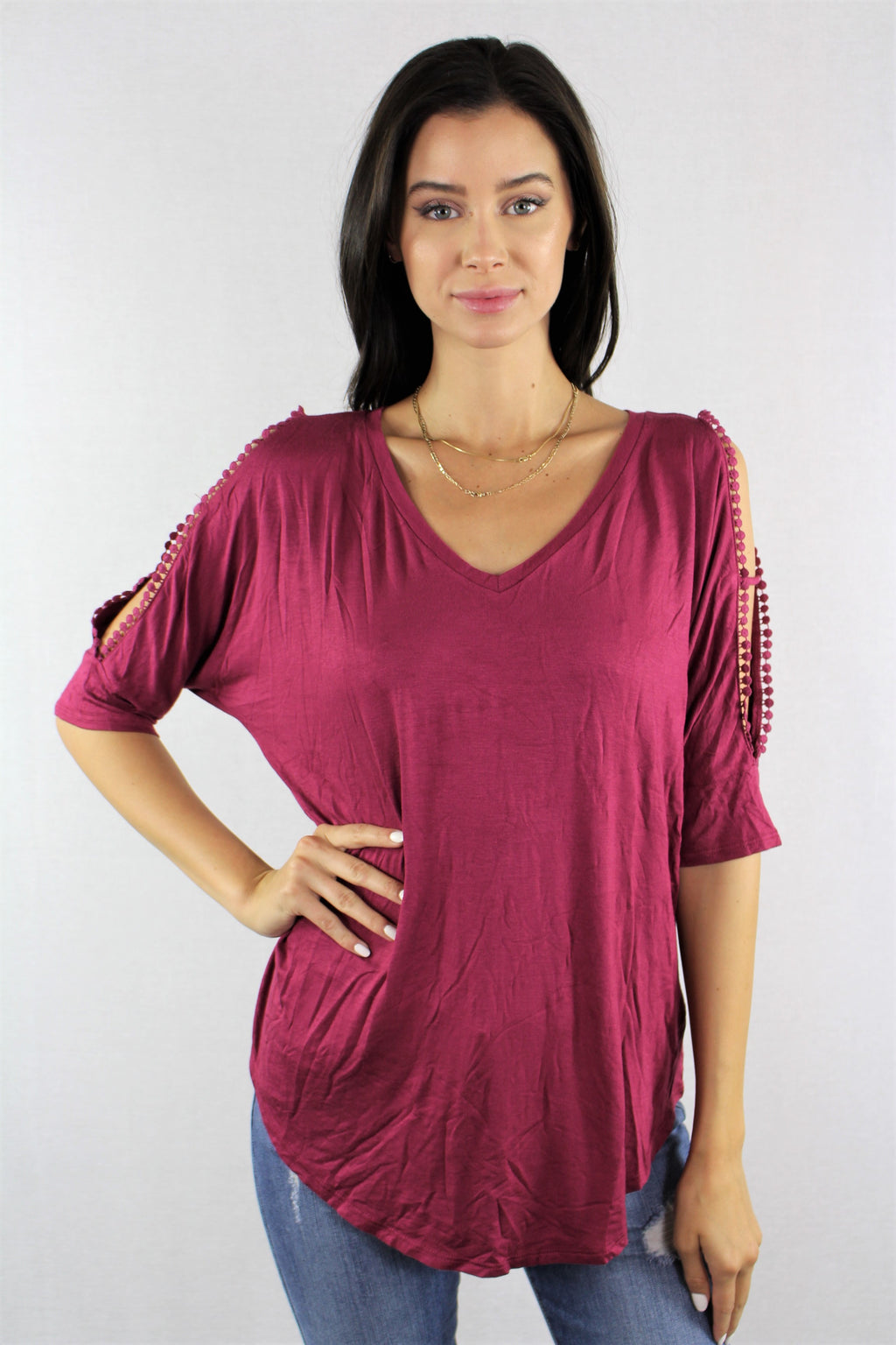 3/4th Sleeve Top with Pom Pom Details