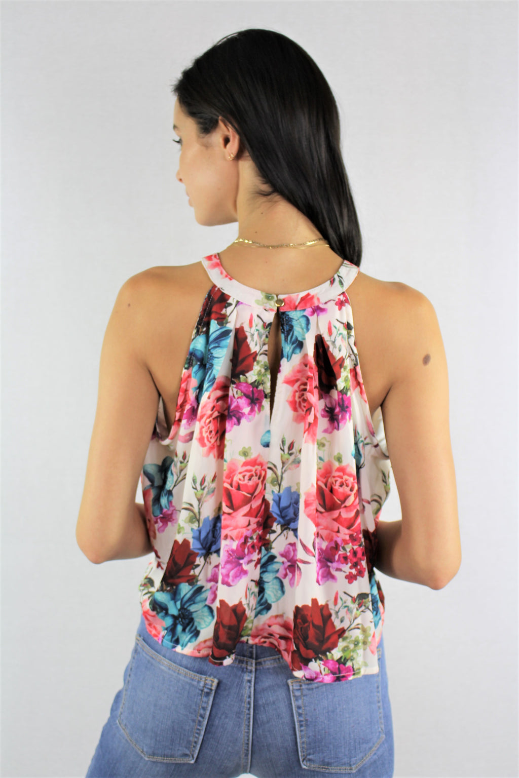 Sleeveless Floral Crop Top