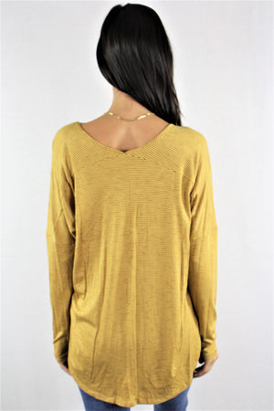 Long Sleeve with Semi Low Neckline Top