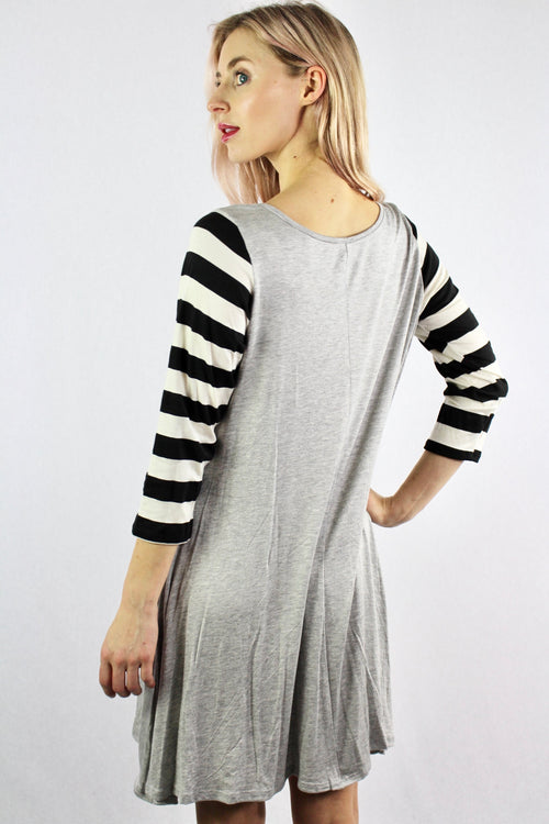 Women's Stripe Sleeve Wide Hem Dress